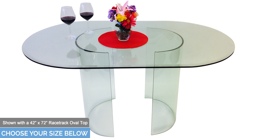 "548 C Oval Dining Table - Includes 1/2"" Thick Glass With 1"" Bevel Edge"