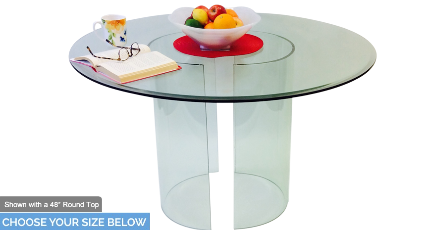 "548 C Round Dining Table - Includes 1/2"" Thick Glass With 1"" Bevel Edge"