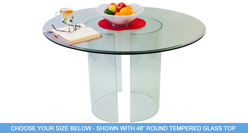"548 C Dining Table - Includes 1/2"" Thick Tempered Glass With 1"" Bevel Edge"