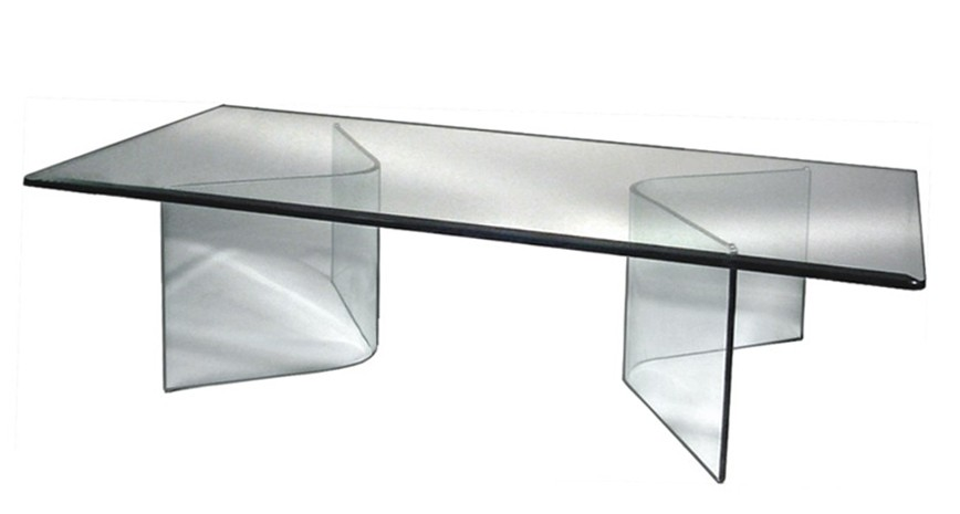 584 VEE GLASS COCKTAIL TABLE BASE ONLY (Set of 2)