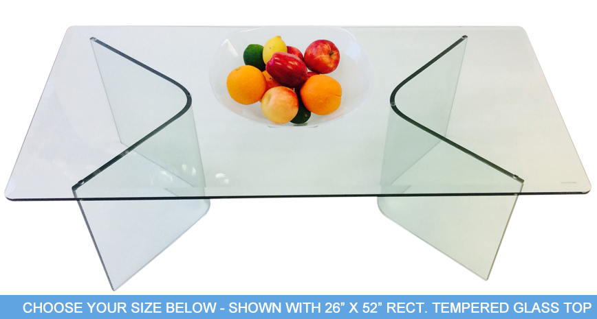 "584 Vee Cocktail Table - Includes 1/2"" Thick Tempered Glass With 1"" Bevel Edge"