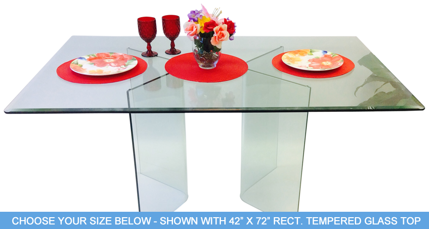 "585 Vee Dining Table - Includes 1/2"" Thick Tempered Glass With 1"" Bevel Edge"