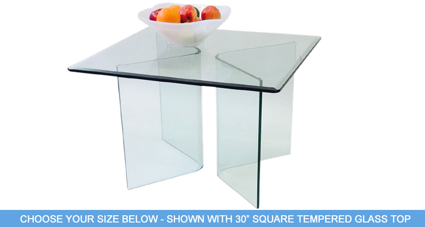 "593 Vee Glass End Table - Includes 1/2"" Thick Tempered Glass With 1"" Bevel Edge"