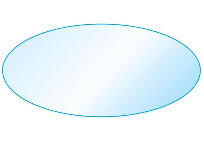 "42"" x 72"" Eoval Glass Top 1/2"" Thick - 1"" Bevel Edge"