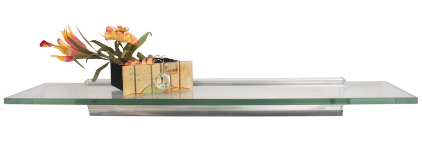"8"" X 24"" Rail Flush Fit Glass Shelf"