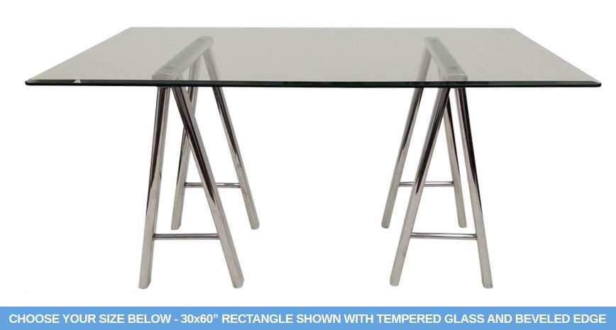 "655 Saw Horse Dining Table / Desk - Includes 1/2"" Thick Tempered Glass With 1"" Bevel Edge"