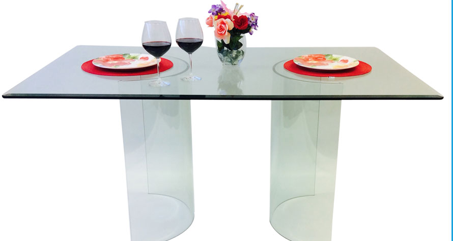 Glass Table Bases Cocktail Dining End Console Tables - All glass dining room table